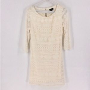 ⬇️$35 AUW Lace Ivory Cream Crochet Slip Lined Dr…